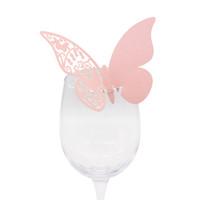 lazerle kesilmiş kâğıt cam toptan satış-20 adet / grup Kelebek Lazer Kesim Kağıt Yeri Kartı / Escort Kartı / Kupası Kartı / Şarap Cam Kart Düğün Parti Dekorasyon Için