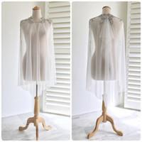 ingrosso giacche da sposa in rilievo-2019 Real Picture Beaded Wedding Wrap Lace Soft Tulle Moda Custom Made economici Giacche da sposa per Bohemian Wedding Dress