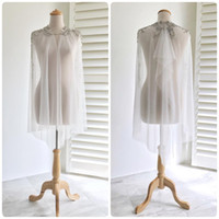 ingrosso giacca da sposa nuziale in rilievo-2019 Real Picture Beaded Wedding Wrap Lace Soft Tulle Moda Custom Made economici Giacche da sposa per Bohemian Wedding Dress