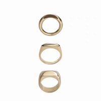 coole ringe für mädchen großhandel-2019 Ins! kühle Brise Asket Metall Ring, Gold und Silber zwei Farben Kupfer vergoldet abstrakten Ring Mädchen