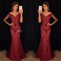 Wholesale sexy purple celebrity mermaid dress for sale - Modest Wine Red Evening Dresses Mermaid Off Shoulder Burgundy Lace Major Beaded Prom Gowns Dress for Celebrity Party Formal Wear