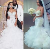 perles de robes de mariée en couches achat en gros de-Robes de mariée sexy sirène sud-africaine perles paillettes superposées jupe, plus la taille robe de mariée compte train shinning fermeture à glissière retour robes de mariée