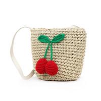 ingrosso borse vacanza-Borsa a tracolla ricamata in ciliegio per donna Borsa a tracolla in paglia intrecciata per vacanze in spiaggia Fa1