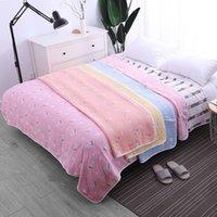 jacquard decken großhandel-Gaze Thread Handtuch Decken Sommer dünne Quilt Klimaanlage Zimmer Tagesdecke Jacquard Weben Decke Nap Quilt Bettdecke