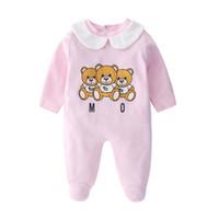 bebek ayı kıyafetleri toptan satış-Bebek Karikatür Ayı Giysileri Girlboys Uzun Kollu Baba Mumya Tulum Babygrow Sleepsuits Bebek Romper 0-18 Ay Q190518