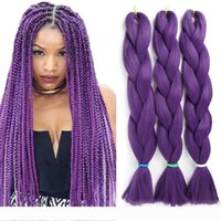 Wholesale x braiding hair resale online - Synthetic Braiding Crochet Hair Extensions Solid Color X pression Braiding Hair Crochet Box Braids Jumbo Braids Cheap Hair for