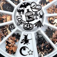ingrosso rete nera nera-Art Paillettes decalcomanie Gem rotella di figura Brone Nero Mix zucca di Halloween Viso Strega Spider Net Black Cat Bat metallica del chiodo di DIY