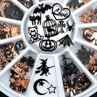 pregos metálicos diy venda por atacado-Forma Brone Preto Halloween Mix Pumpkin Witch face Aranha preta Net Bat Cat Metallic Nail Art Sequins decalques Gem DIY Roda