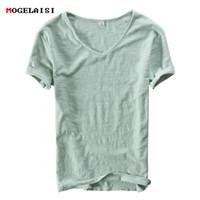 dünne weiße t-shirt männer großhandel-Sommer Männer Leinen Baumwolle T-shirt Männer Kurzarm V-ausschnitt Atmungsaktiv Weich Lose Dünne Weiße T-shirt Männer Asiatische Größe M-xxxl 201 J190427