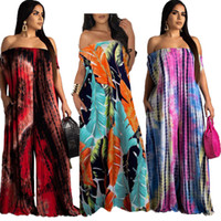 Wholesale dyed clothes pink for sale - Women Jumpsuits Rompers summer clothing off shoulder fashion sexy tie dye print Full Length jumpsuits new arrival loose jumpsuits