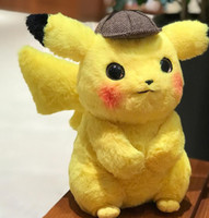 Wholesale 28cm Peluche Detective Pikachu Plush Toy inch Anime Cartoon Movie Pikachu Stuffed Plush Doll Game Japanese Child Gift Children Birthday