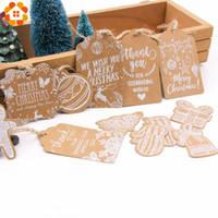 suministros de fabricación de papel al por mayor-Multi Style Christmas Series Etiquetas de papel Kraft DIY Crafts Etiqueta colgante con cuerda Etiquetas de fiesta de Navidad Suministros de envoltura de regalos