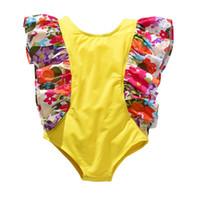 mayo mayoları toptan satış-Çocuk Çiçek baskı Mayo 2019 yaz fırfır Uçan kollu Mayo Bikini Çocuk Bir Adet Mayo 2 renkler B11