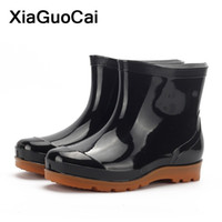 Wholesale wading boots for sale - Group buy Black Men Rainboots Spring Autumn Male Ankle Boots Waterproof Fishing Wading Shoes Car Wash Work Footwear Slip On Plastic