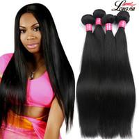 cheveux vierges de machine trame achat en gros de-Vison droit brésilien Virgin Bundles Cheveux brésiliens humains Cheveux raides 1B Trame 2 4 couleurs Droit Non traité prolongements de cheveux humains