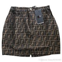 novos skirts designs venda por atacado-Novo design das mulheres carta F jacquard cintura alta a-line saia curta pista moda saia plus size S M L XL