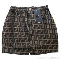 nuevos diseños de faldas al por mayor-Nuevo diseño para mujer, letra F, jacquard, cintura alta, una línea, falda corta, falda de moda, más el tamaño S M L XL