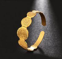 vergoldetes messingarmband großhandel-Mittlerer Osten Arabisch Open Coin Bracelet Messing vergoldet Real Gold Female Bracelet