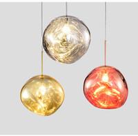 tom dixon lamba bakır toptan satış-Tasarımcı aydınlatma Sıcak Satış Tom Dixon Erime serisi Bakır Kolye lamba Küresel Top Oturma Odası için Modern Asılı Lamba
