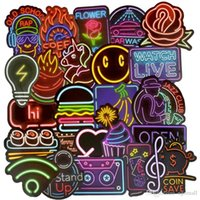 Wholesale neon guitars resale online - 50 Neon Light Sticke Cute Decals Stickers Gifts for Children to Laptop Suitcase Guitar Fridge Bicycle Car