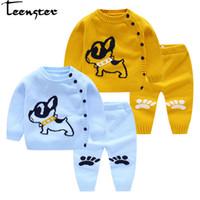 seidenhund großhandel-Teenster Cardigan für Baby Herbst Newborn Sweater Cartoon-Hund Honeybee Stickerei Säuglingsmädchen Knit Pullover Twins
