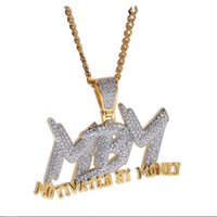 Wholesale money rope for sale – best Men Iced Out Bling CZ K Gold Plated MBM Motivated By Money Letter Pendant Necklace Hip Hop Jewelry Chain Necklace Gift