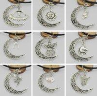 gerçek ay toptan satış-Hilal Güneş Ay Ağacı Melek Kolye Kolye Siyah Hakiki Deri Kolye Gerdanlık Bijuteri Biblo Fil Kuş Charms Kolye Takı