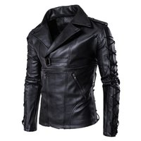 Wholesale lether jackets online - Brand New Motorcycle Male PU Leather Jackets PU Casual Lapel Neck Slim Fit Lether Inverno Couro Mens Stand Collar Jacket XL J1811174