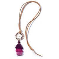 ingrosso maglia di corda-Vintage Bohemian Ethnic Tassel Pendant Necklace Retro Flower Long Rope Maglione Collana Abbigliamento Accessori gioielli