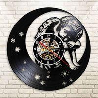 calcomanías de ángeles al por mayor-Angel On The Moon Wall Decal Sticker Moon Stars Sky Boy Reloj de pared con iluminación LED Baby Kids Nursery Art Decor Sleepy Lamp