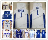 mejores camisetas de baloncesto azul al por mayor-Spire Institute # 1 LaMelo Ball High School White Royal Blue Kentucky Wildcats Hombres Mujeres jóvenes La mejor calidad de baloncesto cosido