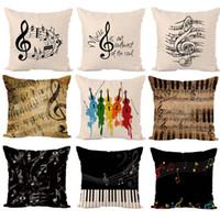 decoração de notas musicais venda por atacado-Linho Fronha de Impressão Digital Sofá Abridor de Almofadas Nota Musical Capa de Almofada Colorido Moda Casa Decoração 4 5yp D1