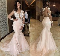 Wholesale back neck model resale online - Charming Hade Made Flowers Mermaid Prom Dresses Sheer Neck Illusion Long Sleeves Hot Special Occasion Dress Modern Formal Party Evening Gown