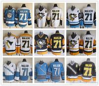 malkin schwarzes eis trikot großhandel-Billige Pittsburgh-Pinguine # 71 Evgeni Malkin Vintage CCM Goldgelb-Schwarzweiß-Eishockey-Trikots Alle genäht Kostenloser Versand
