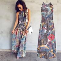 maxi çok renkli elbiseler toptan satış-Renkli Çiçek Baskı Düğme Bölünmüş Ön Flare Plaj Kıyafeti Boho Maxi Elbise Kadınlar Kısa Kollu halter Uzun Elbise