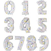 doğum günü balonları beyaz toptan satış-40 inç Büyük Beyaz Numarası Folyo Balon Renkli Yıldız Baskılı Dekorasyon Festivali Doğum Günü Partisi için Bebek Duş Ev Gereçleri