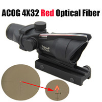 ponto vermelho de fibra óptica venda por atacado-Caça Rifle Scope ACOG 4X32 Fibra Óptica Ponto Vermelho Iluminado Chevron Vidro Gravado Retículo Tactical Real Red Fibra Óptica Visão