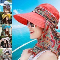 Wholesale uv sun visors women for sale - Group buy Women Summer Outdoor visor Cap Riding Anti UV Sun Hat Beach Foldable Sunscreen Floral Print Caps Neck Face Wide Brim Hat AAA2030
