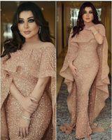 assoalho vestido de lantejoulas venda por atacado-2020 Luxo Mermaid Árabe Longo Mãe de vestido de noiva Jewel Neck Sequins o chão Middle East Prom Formal Partido Prom Vestidos BC0199