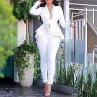 Wholesale pant suits resale online - 2020 Autumn Blazer Set Women Ladies blazer Ruffle Women Suits Elegant Women s Suit Sets Winter Office Lady Pant Suits For