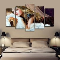 Wholesale paintings ladies figure resale online - Only Canvas No Frame Oil Painting Print Beautiful Lady Wall Art HD Print Canvas Painting Fashion Hanging Pictures for Bedroom Decor