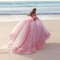 cinderella vestido de baile de formatura venda por atacado-2019 Cinderela Vestidos De Princesa Azul Vestido De Baile Quinceanera Vestidos Flores Feitas À Mão Fora Do Ombro Tribunal Trem De Tule Doce Vestidos De Baile