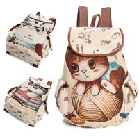 Wholesale cat drawstring backpacks for sale - Group buy Fashion Avant Garde Cute Cat Backpack Lady Canvas Backpack Drawstring Print for Teenage Girls Large Capacity Schoolbag