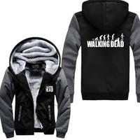 chaqueta muerta caminando al por mayor-Cost For Men 2019 Winter Fleece Thicken Hoodies Zipper sudadera The Walking Dead Imprimir moda Harajuku chaqueta para hombre Kpop