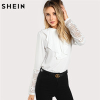 ingrosso camicia bianca in pizzo-SHEIN White Keyhole Back Lace Ruffle Top Donna Girocollo a maniche lunghe Button Plain Blouse 2018 Spring Elegant