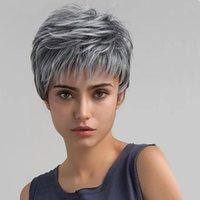 siyah beyaz karışık peruk toptan satış-Gül İntranet 15 cm Long Kadın Karışık Renkli Peruk Siyah ve beyaz Blend Kabarık Kısa Kıvırcık Saç
