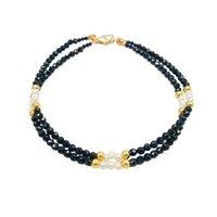 inci inci inci toptan satış-Lii Ji Taş Çift serisi Siyah Spinel, İnci 925 gümüş Altın Parlayan Bileklik