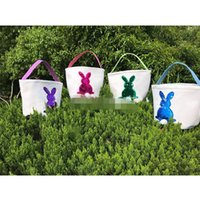 Wholesale Sequin Easter Bunny Baskets cartoon Rabbit Handbags Canvas Bunny Printed Storage Bag Easter Gift Bag colors cm