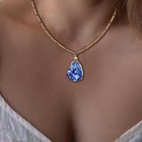 drusy oro al por mayor-Nueva Venta Caliente Collar de Cristal de Piedra de Resina Irregular Drusy Colgante de Piedra de Resina Colorida Collar de Cadena de Oro Joyería de Diseño