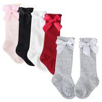 Wholesale bow socks for girls resale online - 2018 New Baby Winter Half Bow Socks Baby Knee Pads High Long Soft Anti Slip Cotton Socks For Girls